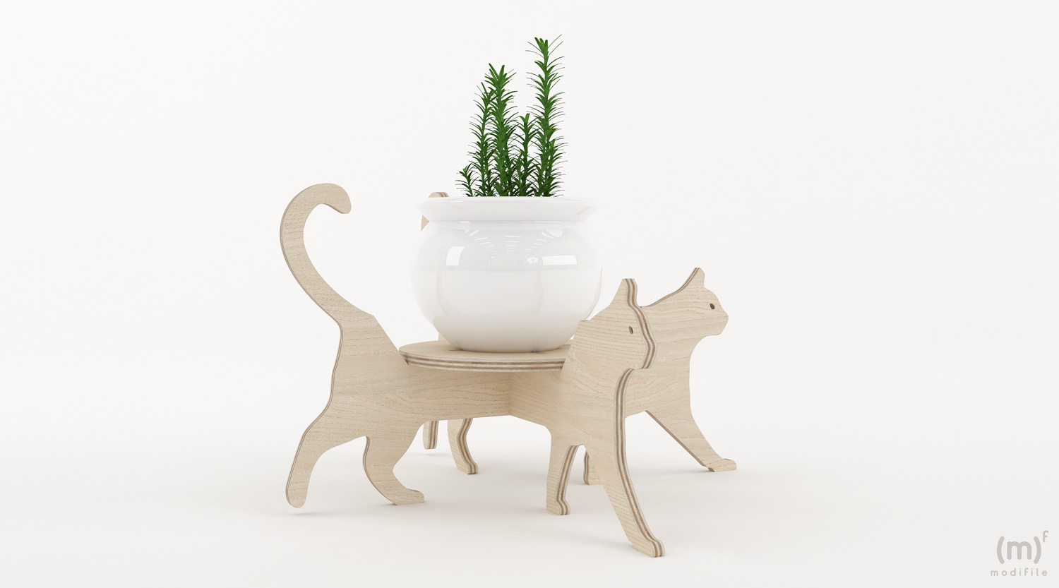 Cat Flowerpot wooden furniture