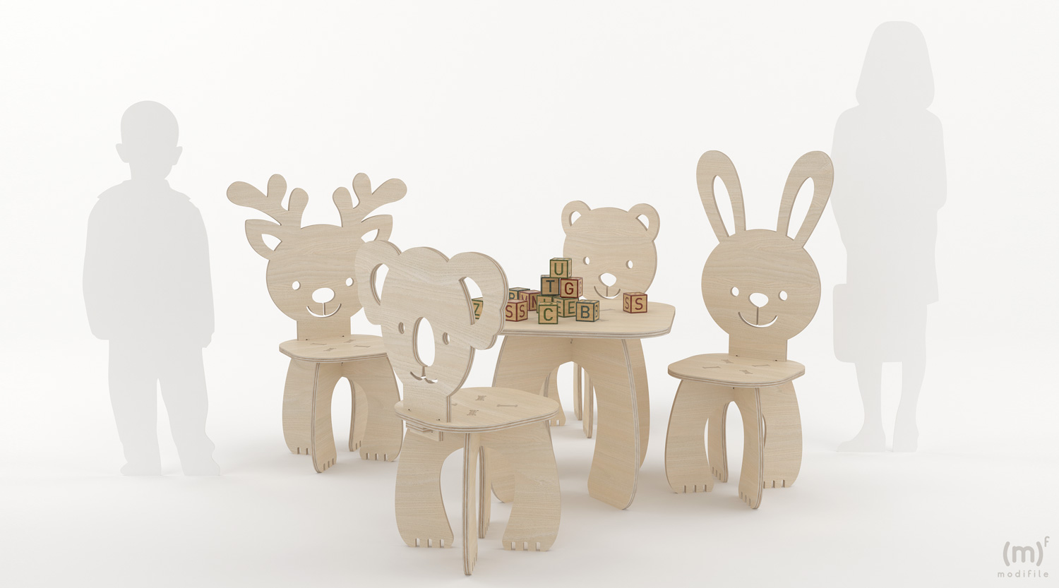 Animals Table wooden furniture