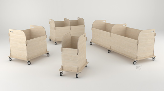 Container Trolley wooden furniture